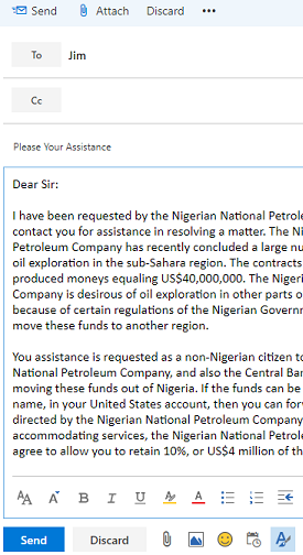 Example of Nigerian Prince email